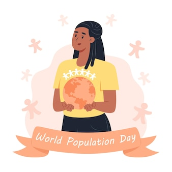 World population day, woman holding planet earth in her hands