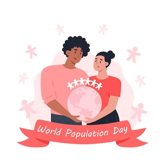 World population day, woman and man holding planet earth in their hands