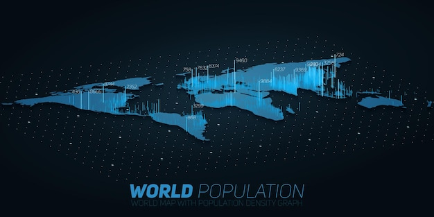 世界人口マップのビッグデータの視覚化。未来の地図のインフォグラフィック。