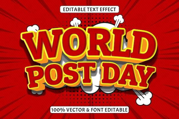 세계 포스트 데이 편집 가능한 텍스트 효과 3 차원 양각 만화 스타일