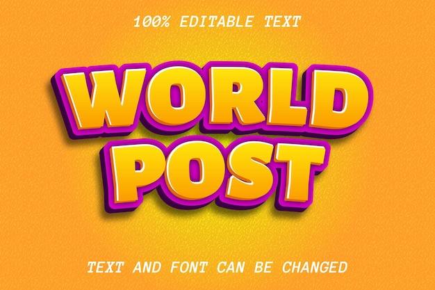 World post editable text effect modern style