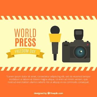 Stampa del mondo di fondo giornata con videocamera e microfono