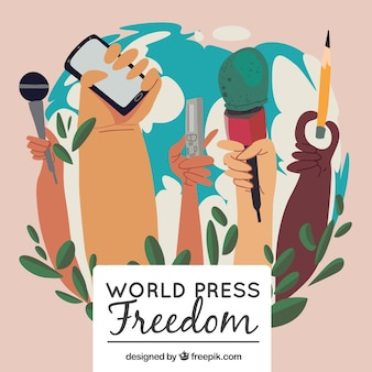 World press freedom day background of hands holding objects