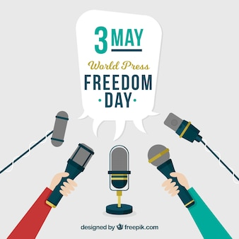 World press freedom day background with variety of microphones