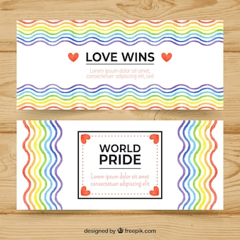 World pride banners with wavy lines