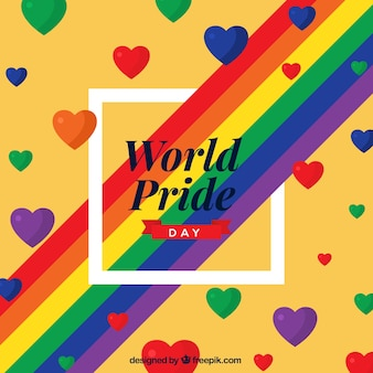 World pride day background with colorful hearts