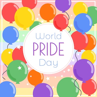 World pride day balloons background