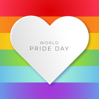 World pride day with pride flag background and white heart