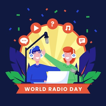 World radio day background flat design with characters