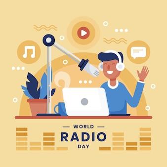 Всемирный день радио фон плоский дизайн с мужчиной