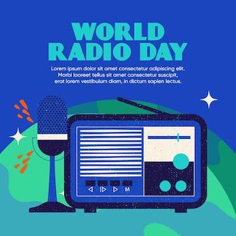 World radio day background flat design with microphone and radio