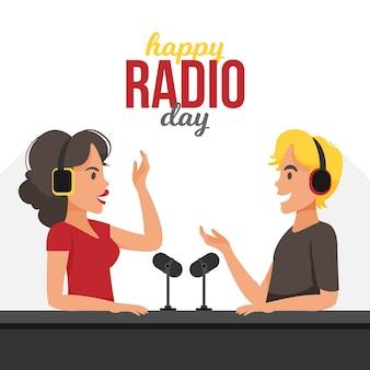 人々と世界のラジオの日の背景フラットデザイン