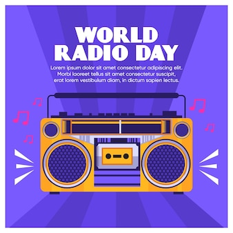 World radio day background flat design with stereo