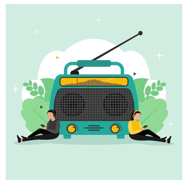 Всемирный день радио фон плоский дизайн