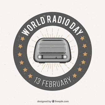 Всемирный день радио фон в стиле ретро