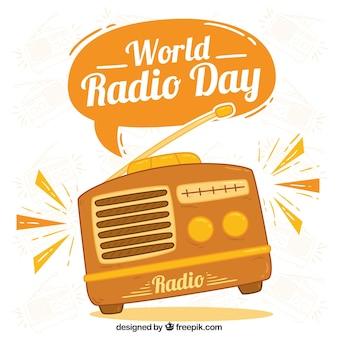 World radio day background in orange tones