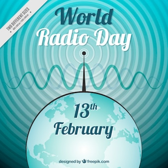 World radio day background with aerial and waves