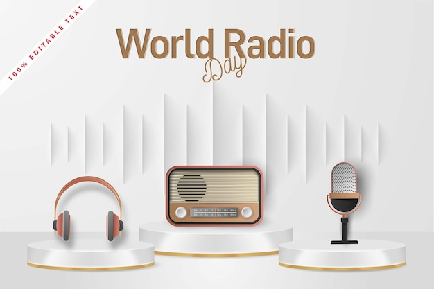 World radio day banner background with editable text effect. paper cut art style.