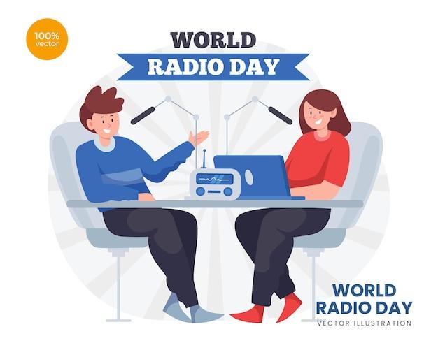 Иллюстрация концепции всемирного дня радио. девушка разговаривает со зрителями или приглашенным звездным мужчиной. вещание с микрофоном.
