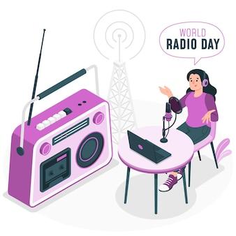 World radio dayconcept illustration