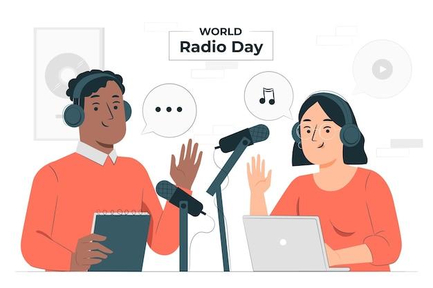 Illustrazione di concetto di giornata mondiale della radio