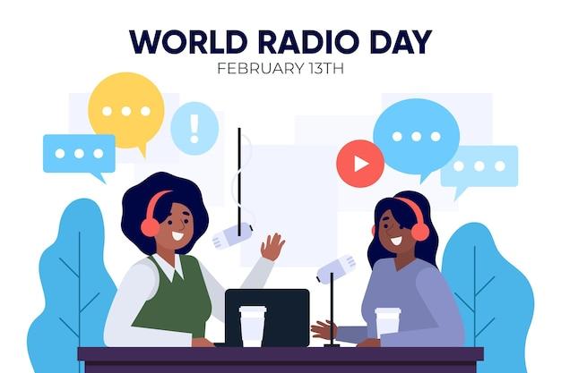 Всемирный день радио плоский дизайн фона с женщинами