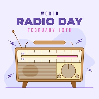 World radio day flat design background