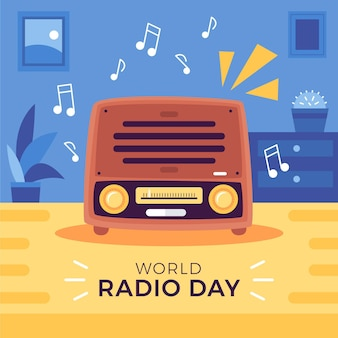 World radio day flat hand drawn design