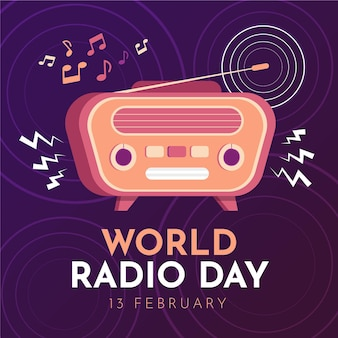 World radio day hand drawn background with vintage radio