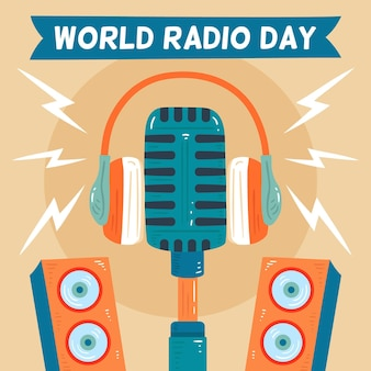 World radio day hand drawn background