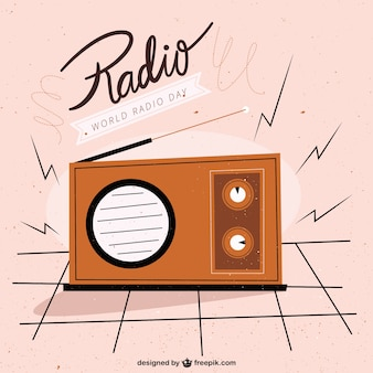 World radio day in vintage style background