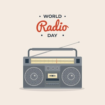 World radio day retro vintage style illustration