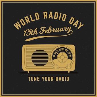 世界のラジオの日のヴィンテージの背景
