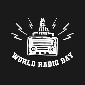 해골 디자인 컨셉으로 세계 라디오의 날. 프리미엄 벡터