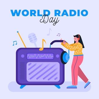 世界のラジオの日の女性と大きなラジオ