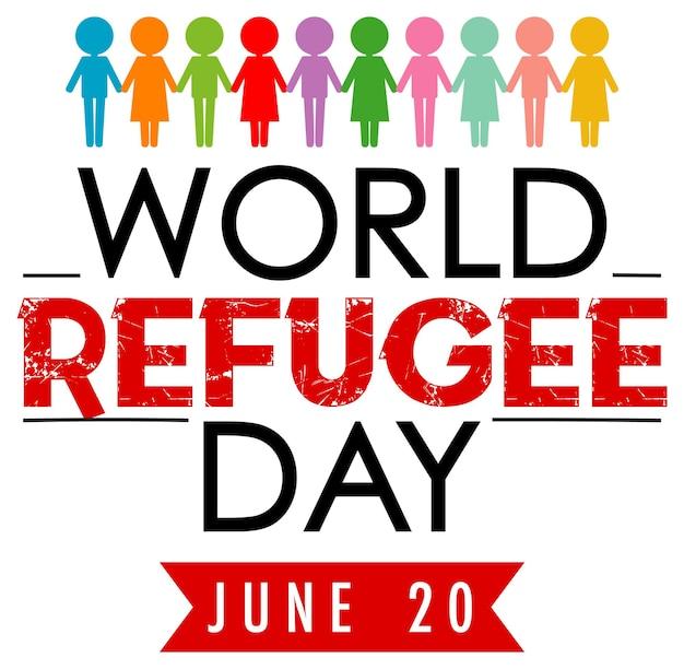 さまざまな色の人々が署名する世界難民の日バナー