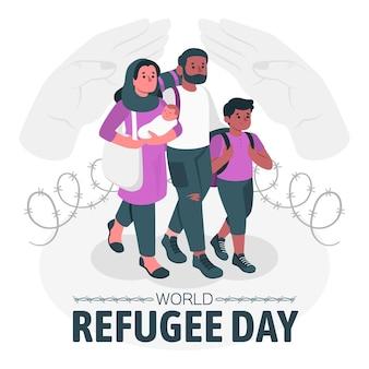 Illustrazione di concetto di giornata mondiale dei rifugiati