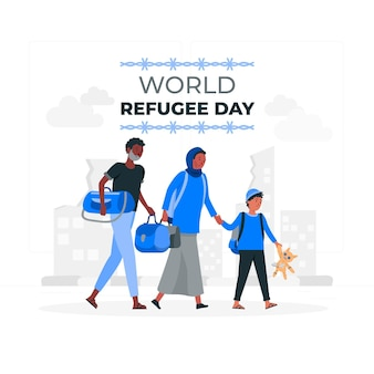 World refugee day concept illustration