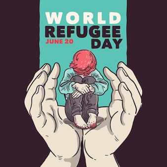 World refugee day concept