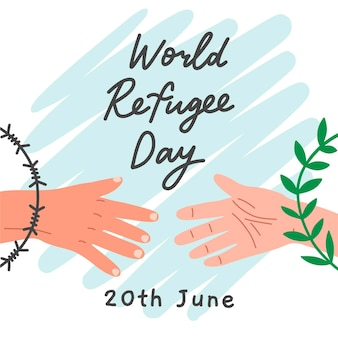 World refugee day draw concept
