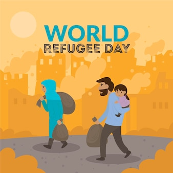 World refugee day drawing illustrated