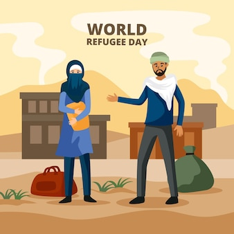 World refugee day in flat design