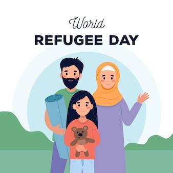 World refugee day in flat design