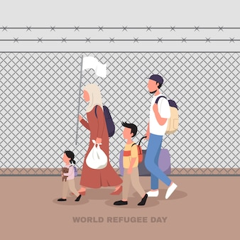 World refugee day illustration