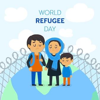 Illustrazione di giornata mondiale del rifugiato