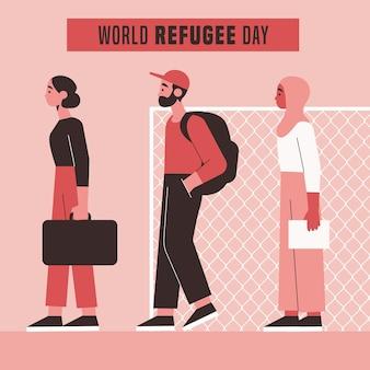 Всемирный день беженцев в плоском дизайне