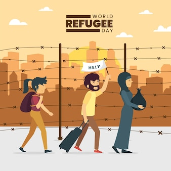 World refugee day with people