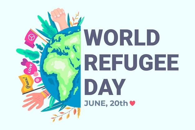 World refugee day with planet