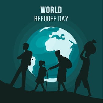 World refugee day with silhouettes and planet earth