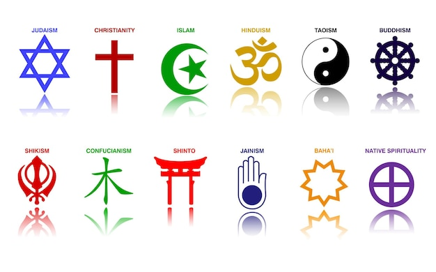 World religion symbols colored signs of major religious groups and religions eps vector